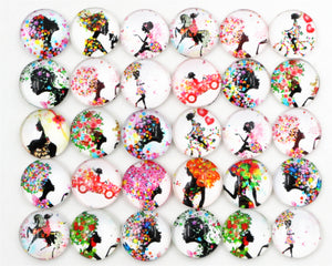 12mm Round Glass Cabochons Mixed Color Black Girl Designs For Bracelet Earrings Necklace Bases Settings