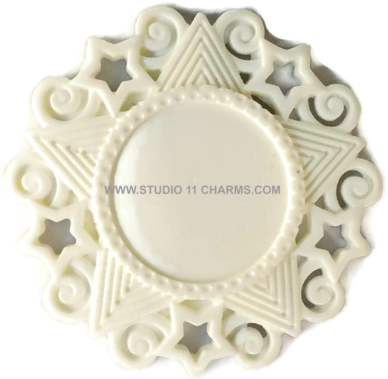 12 Resin Frame Setting Bezel Victorian Style fit 1in or 25mm cameo WHITE 54.3