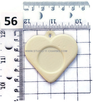 12 Resin Frame Setting Bezel Heart Style fit 1in or 25mm cameo WHITE 56.3