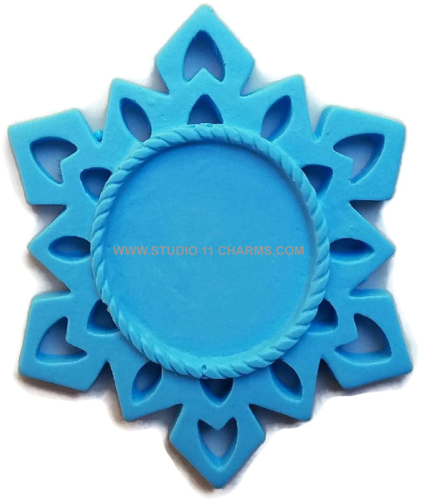 12 Resin Frame Setting Bezel Snow Flake Style fit 1in or 25mm cameo BLUE 57.1