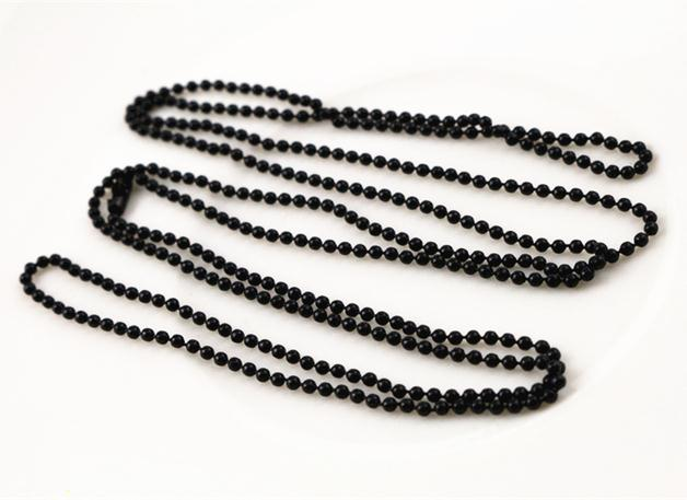 1.5mm Black Plated Ball Beads Chain Necklace Bead Connector 65cm
