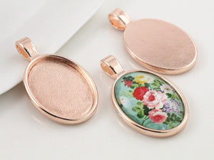 18x25mm Inner Size Rose Gold Classic Style Fit Base Charms Necklace Pendant Setting