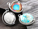 20mm Inner Size Rotation Double Side Rhodium Base Setting Charms New Fashion Pendant