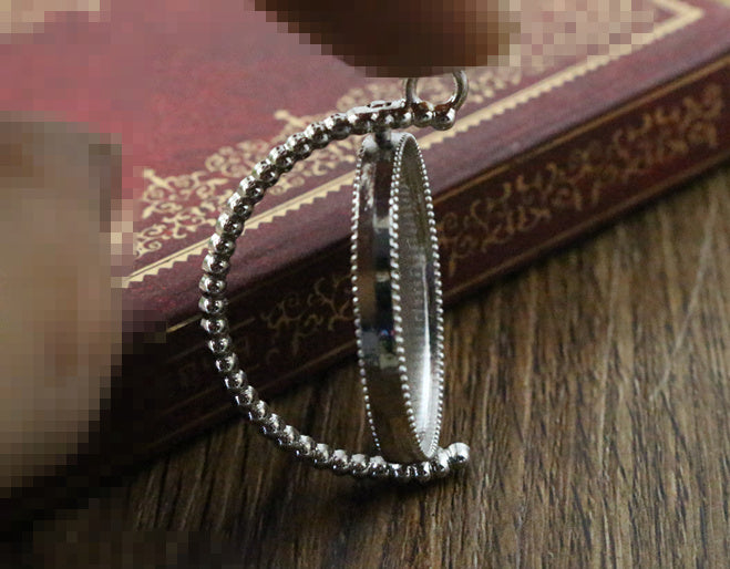 25mm Inner Size Rotation Double Side Rhodium Color Base Setting Charms New Fashion Pendant