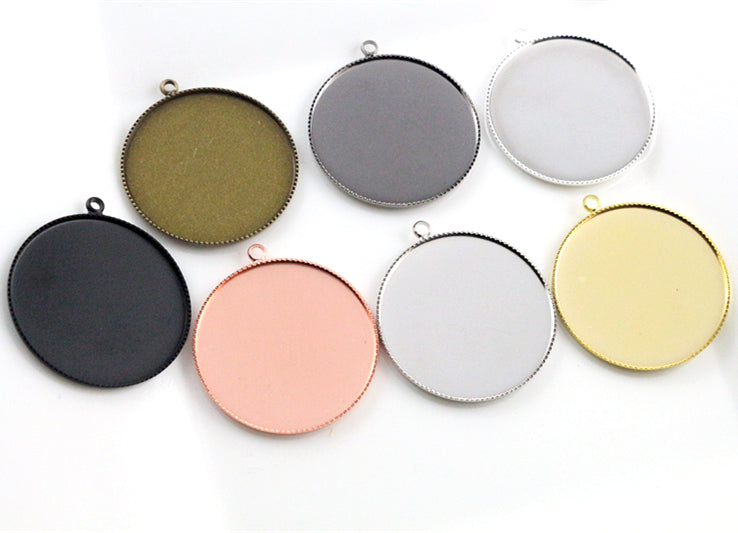 30mm Inner Size 7 Colors Plated Classic Style Fit Base Brass Copper Blank Tray Pendant Charms Settings