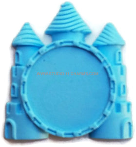12 Resin Frame Setting Bezel Princess Castle fit 1in or 25mm cameo BLUE 68.1