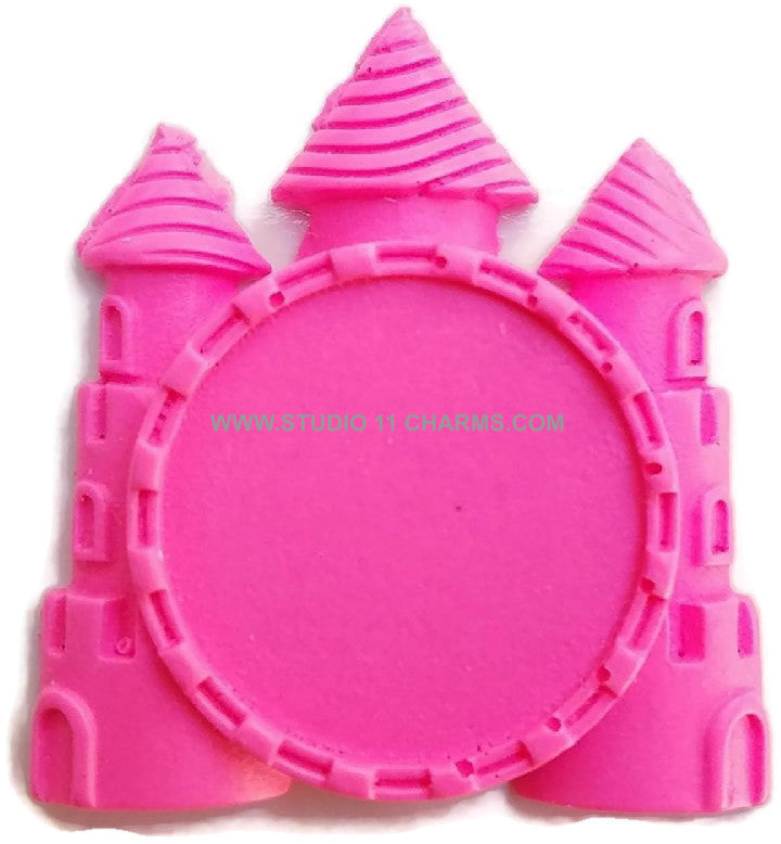 12 Resin Frame Setting Bezel Princess Castle fit 1in or 25mm cameo PINK 68.2