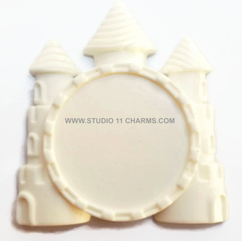12 Resin Frame Setting Bezel Princess Castle fit 1in or 25mm cameo WHITE 68.3