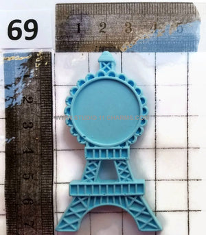 12 Resin Frame Setting Bezel Eiffel Tower Paris fit 1in or 25mm cameo WHITE 69.3