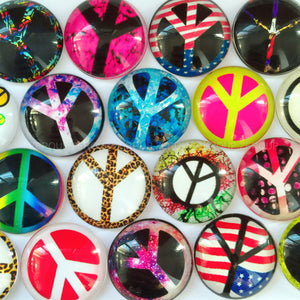 8mm Round Peace Sign Glass Cabochon Mixed Patterns Fit Cameo Base Setting