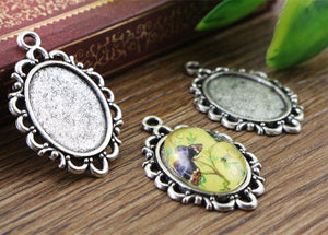 13x18mm Inner Size Antique Silver Simple Style Cameo Fit Base Setting Charms Necklace Pendant