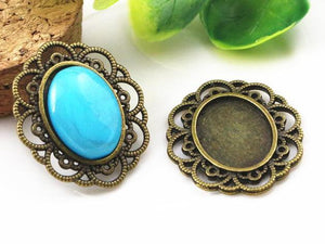 13x18mm Inner Size Bronze Antique Style Fit Base Setting Charms Pendant Necklace Finding