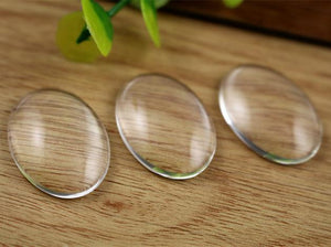 18x25mm High Quality Oval Flat Back Clear Glass Cabochon Cameo