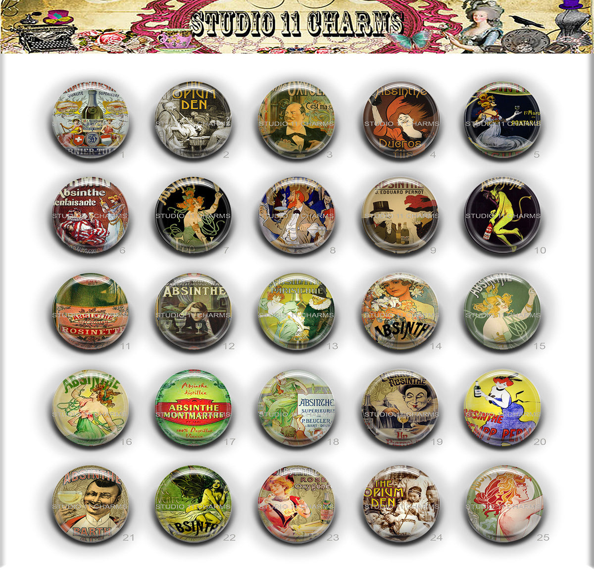 Buttons Badge Round, Pin Backs, Magnets, Flat Backs Cameo. Absinthe 1