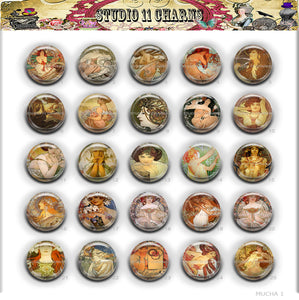 Buttons Badge Round, Pin Backs, Magnets, Flat Backs Cameo. Alfred Mucha 1 Art Deco