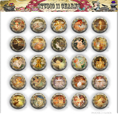 Buttons Badge Round, Pin Backs, Magnets, Flat Backs Cameo. Alfred Mucha 1 Clock Art Deco