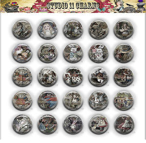 Buttons Badge Round, Pin Backs, Magnets, Flat Backs Cameo. Alice in Wonderland 15B
