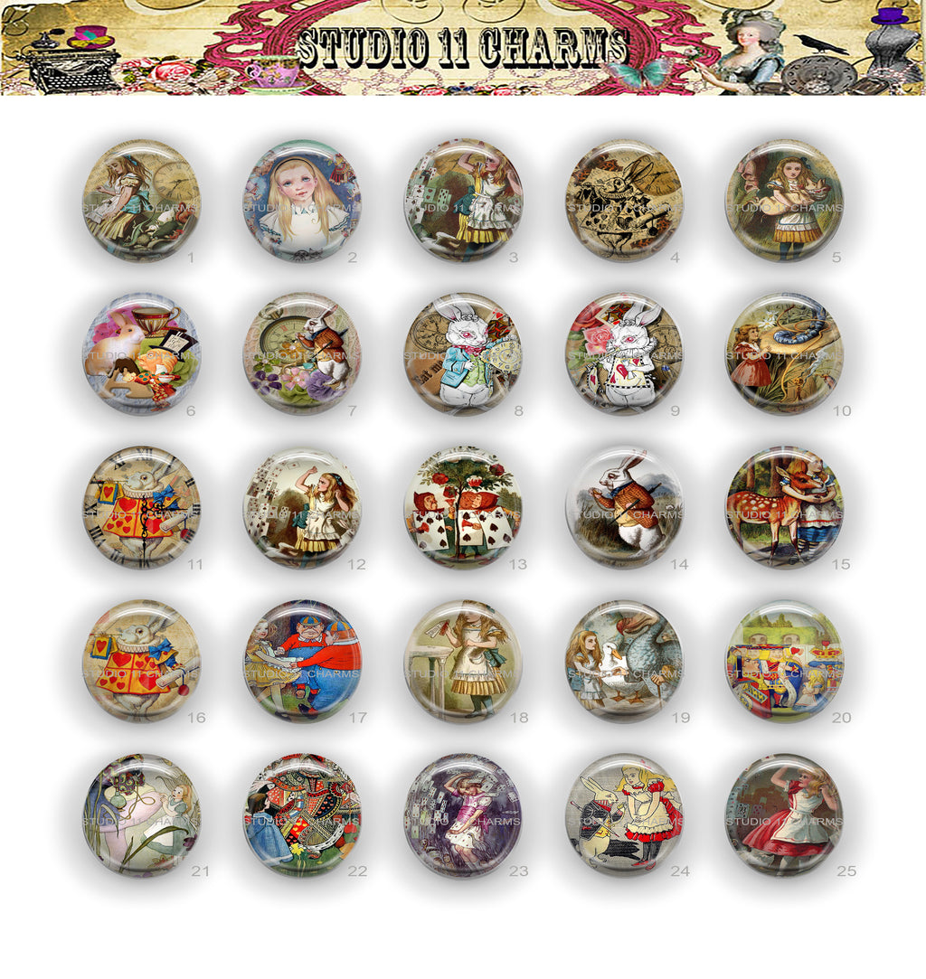 Buttons Badge Round, Pin Backs, Magnets, Flat Backs Cameo. Alice in Wonderland 15