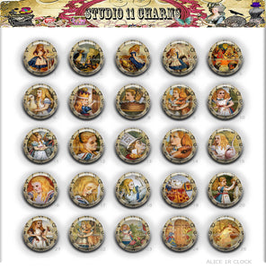 Buttons Badge Round, Pin Backs, Magnets, Flat Backs Cameo. Alice in wonderland 1 Clock