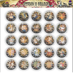 Buttons Badge Round, Pin Backs, Magnets, Flat Backs Cameo. Alice in wonderland 1c Reverse Clock