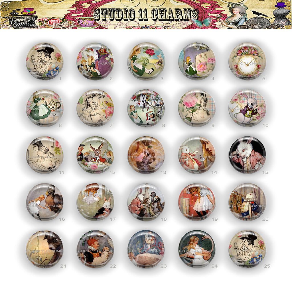 Buttons Badge Round, Pin Backs, Magnets, Flat Backs Cameo. Alice in Wonderland 20