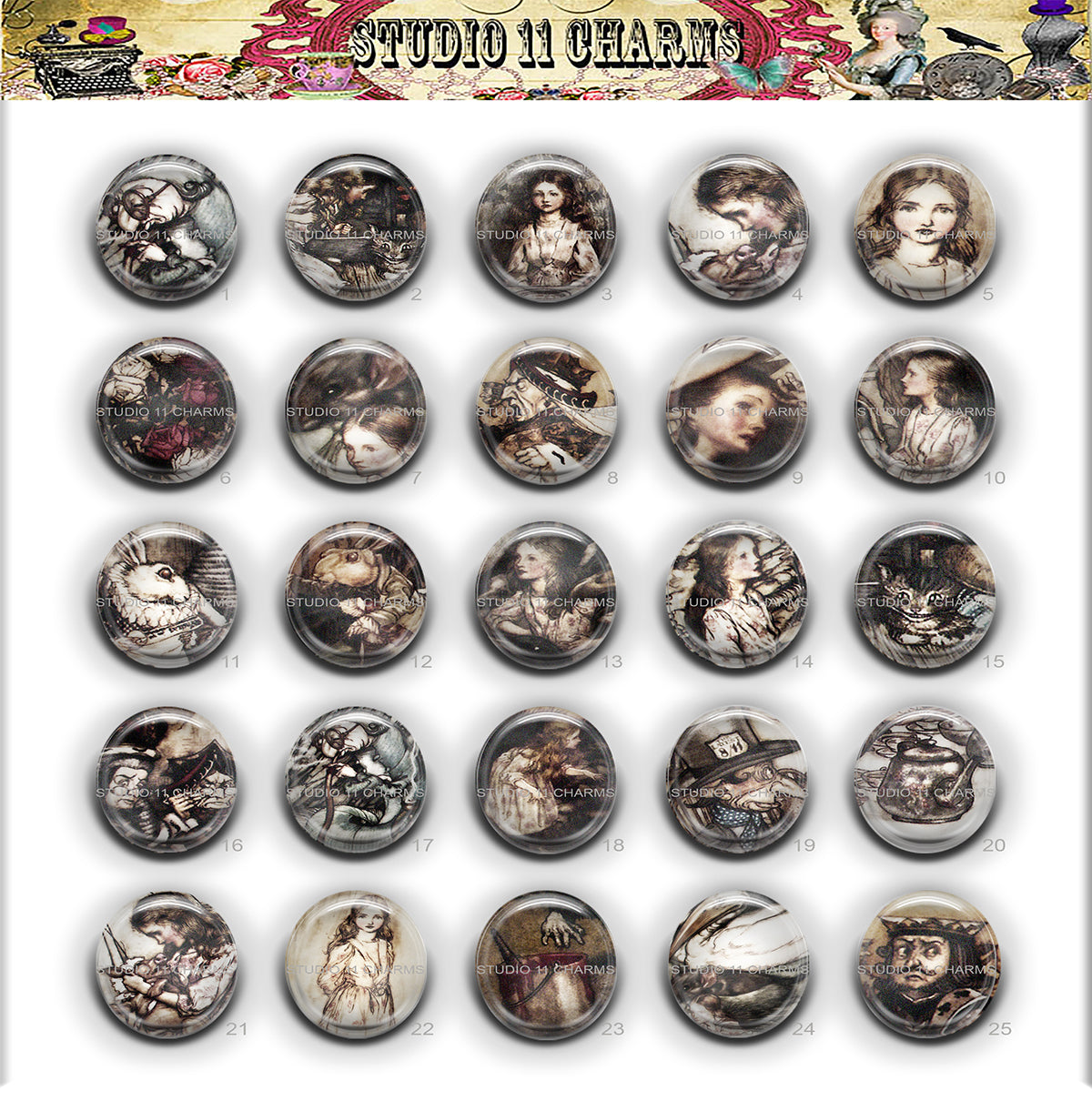 Buttons Badge Round, Pin Backs, Magnets, Flat Backs Cameo. Alice in Wonderland 2 Rackham