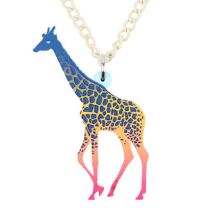 Acrylic Novelty Colorful African Giraffe Creative Theme Pendant Necklace