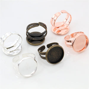 12mm Silver Rose Gold Bronze Plated Brass Blank Base Fit  Adjustable Ring Settings