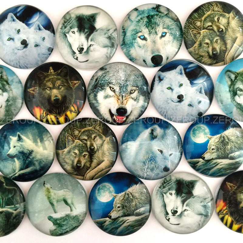 18mm 20mm  25mm Wolf Dog Husky Round Glass Cabochon Mixed Pattern Fit Cameo Base Setting