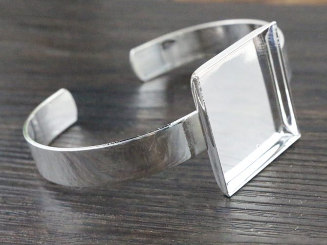 25mm Silver Plated Square Bangle Base Bracelet Blank Findings Tray Bezel Setting