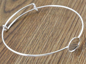 12mm Silver Plated Handmade Bangle Base Bracelet Blank Findings Setting