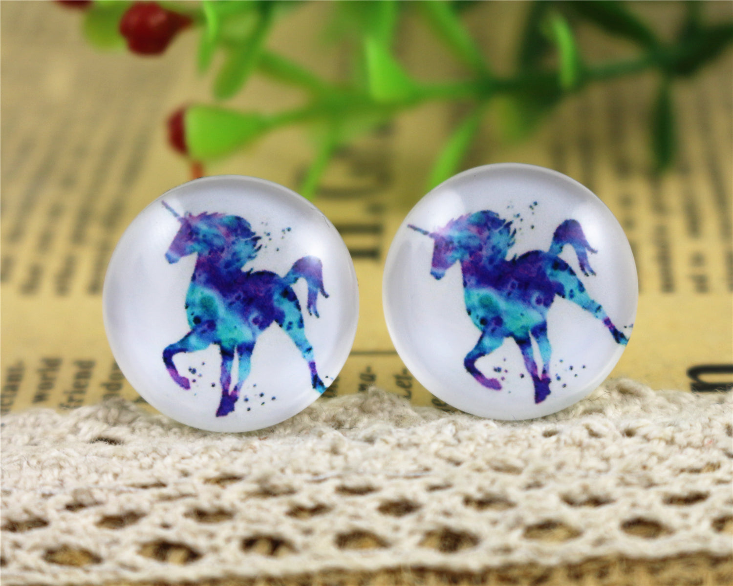 20mm Round Glass Cabochons Handmade Horse And Elephant Design Pattern Jewelry Accessories Supplies