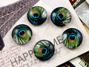 12mm Round Glass Cabochons Peacock Style Design Pattern Cameo Cabochons