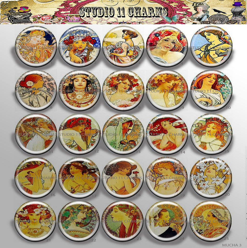 Buttons Badge Round, Pin Backs, Magnets, Flat Backs Cameo. Alfred Mucha 3 Art Deco
