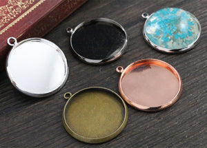 25mm 5 Colors Plated Settings Base Brass Copper Blank Tray Pendant Charms
