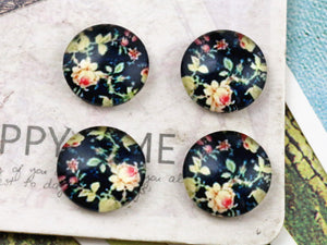 12mm Round Glass Cabochon Floral Pattern Design Cameo Finding Fit Settings