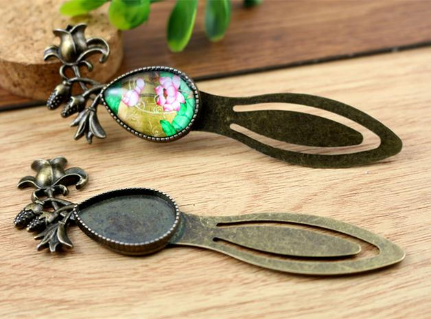 18x25mm Inner Size Antique Bronze Drop Vintage Style Handmade Fit Bookmark Base Setting