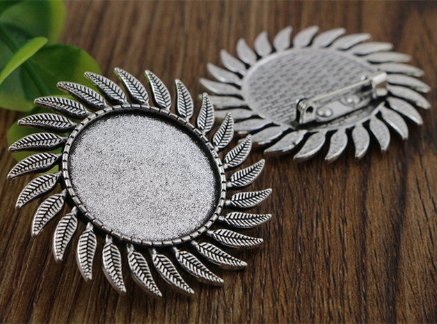 25mm Inner Size Antique Silver And Bronze Fashion Style Brooch Fit Base Setting