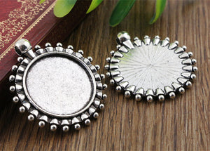 25mm Inner Size Antique Silver Beads Style Base Pendant Charm Setting