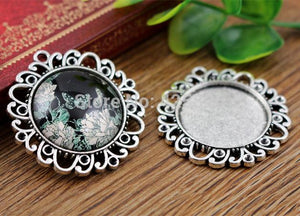 25mm Inner Size Antique Silver Vintage Style Base Setting Charms Pendant