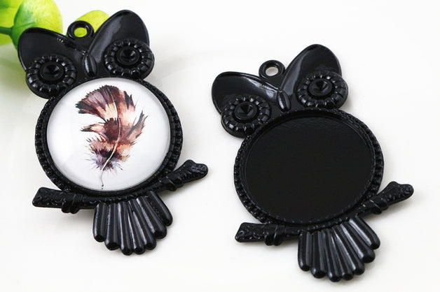 25mm Inner Size Black Owl Style Fit Base Charms Pendant Setting