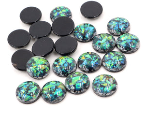 12mm New Fashion Black Colors Built-in metal foil Flat back Resin Cabochons
