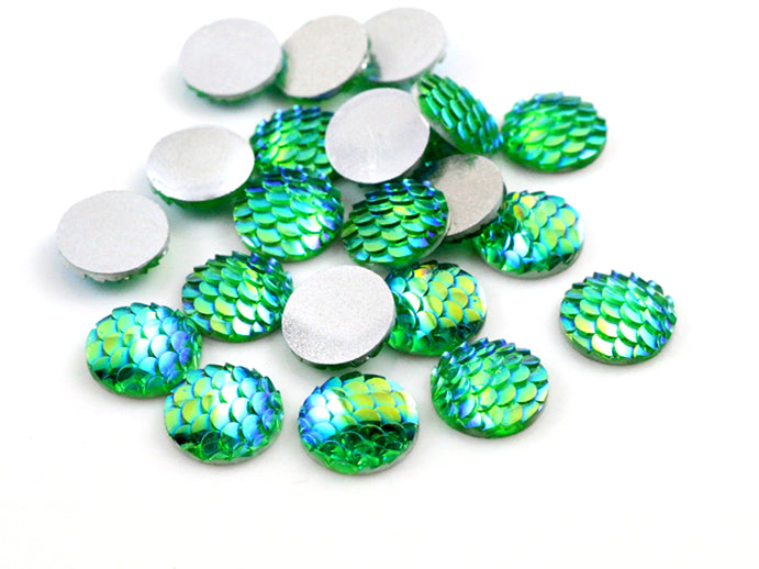 12mm Mix Colors Fish Scale Style Flat Back Resin Cabochons For Bracelet Earrings Accessories