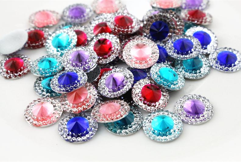 12mm Mixed Color Flat Back Resin Cabochons Cameo Fit Base Jewelry Setting