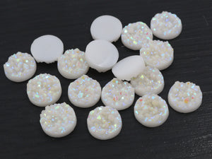 12mm Pure White AB Colors Natural Ore Style Flat Back Resin Cabochons