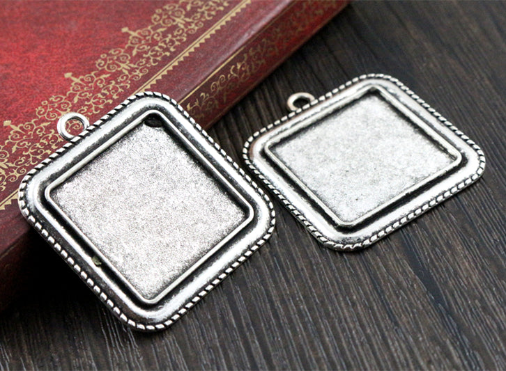 25mm  Inner Size Antique Bronze Square Base Setting Charms Pendant Tray