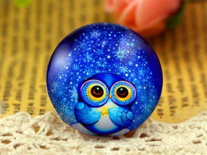 25mm Round Glass Cabochons Starry Owl Design Pattern Cameo
