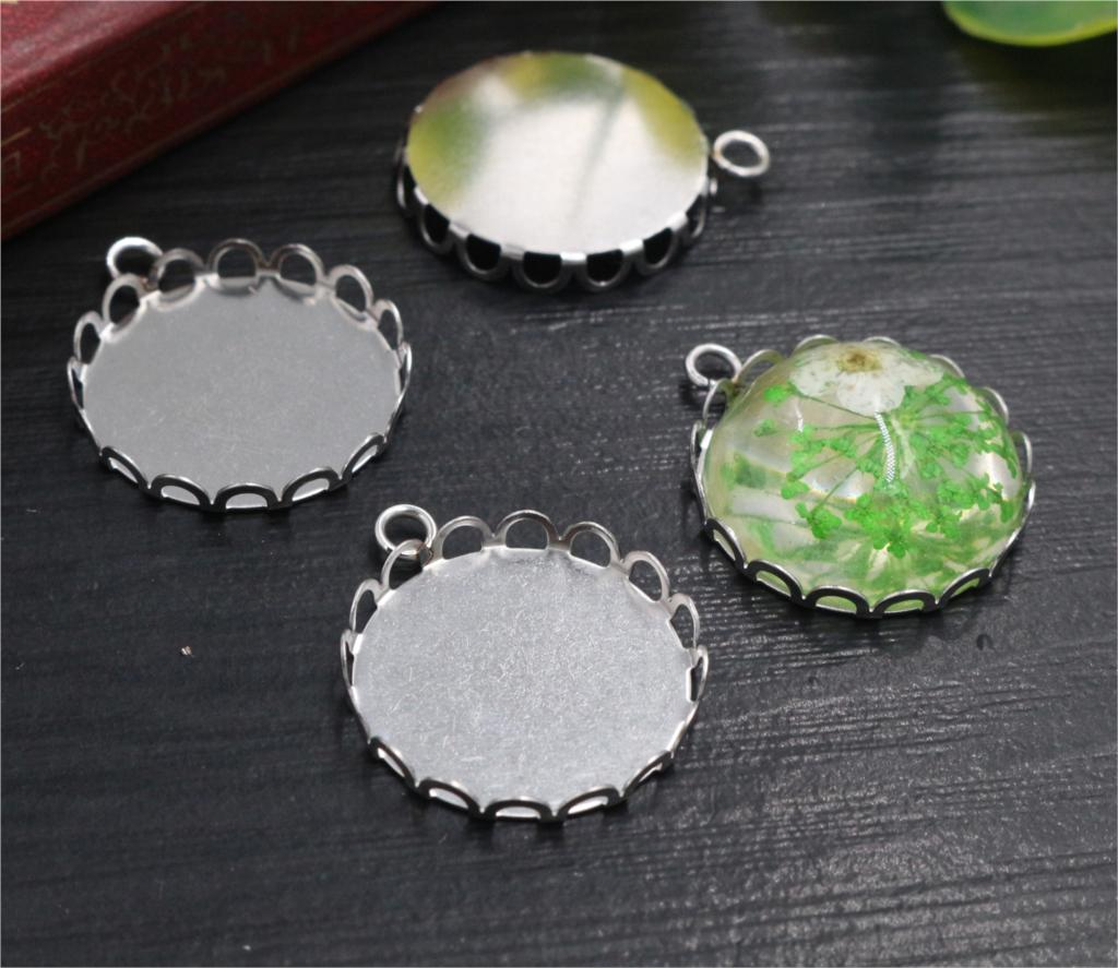 20mm Inner Size Stainless Steel Material Simple Style Base Setting Charms Pendant Tray