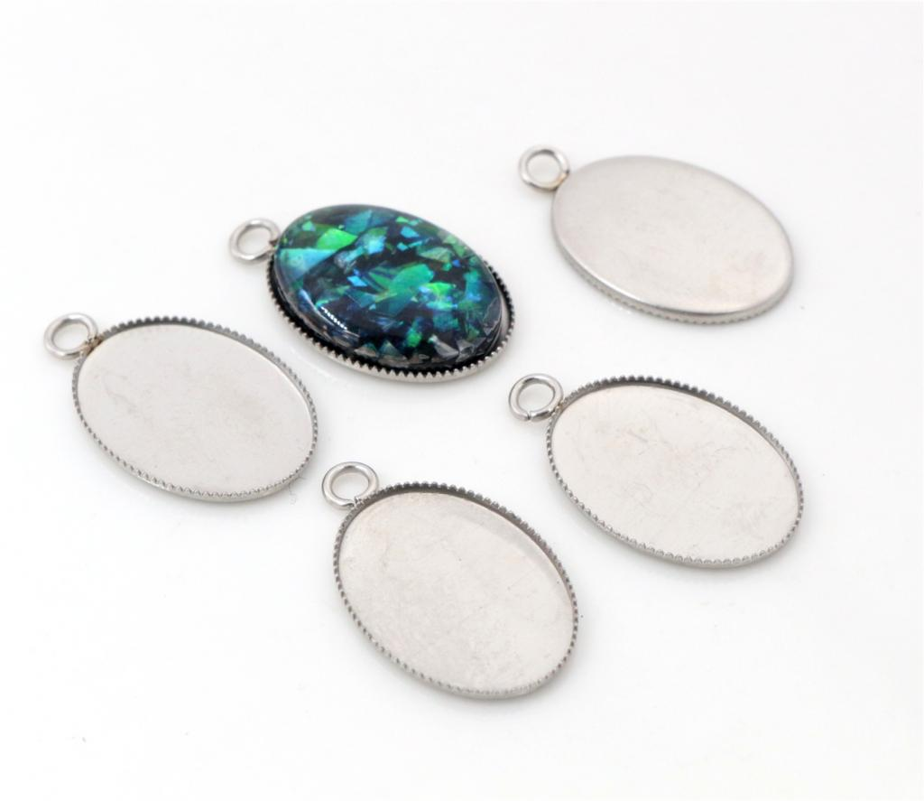 13x18mm Inner Size Stainless Steel Material Oval Style Base Setting Pendant Tray