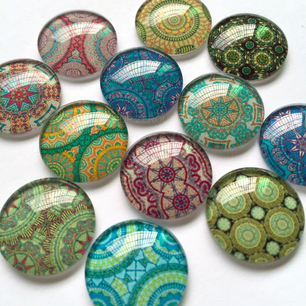 30mm 35mm Abstract Mixed Pattern Round Glass Cabochon Handmade DIY Embellishments Supplies